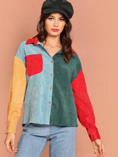 Button Up Color-Block Corduroy Shirt