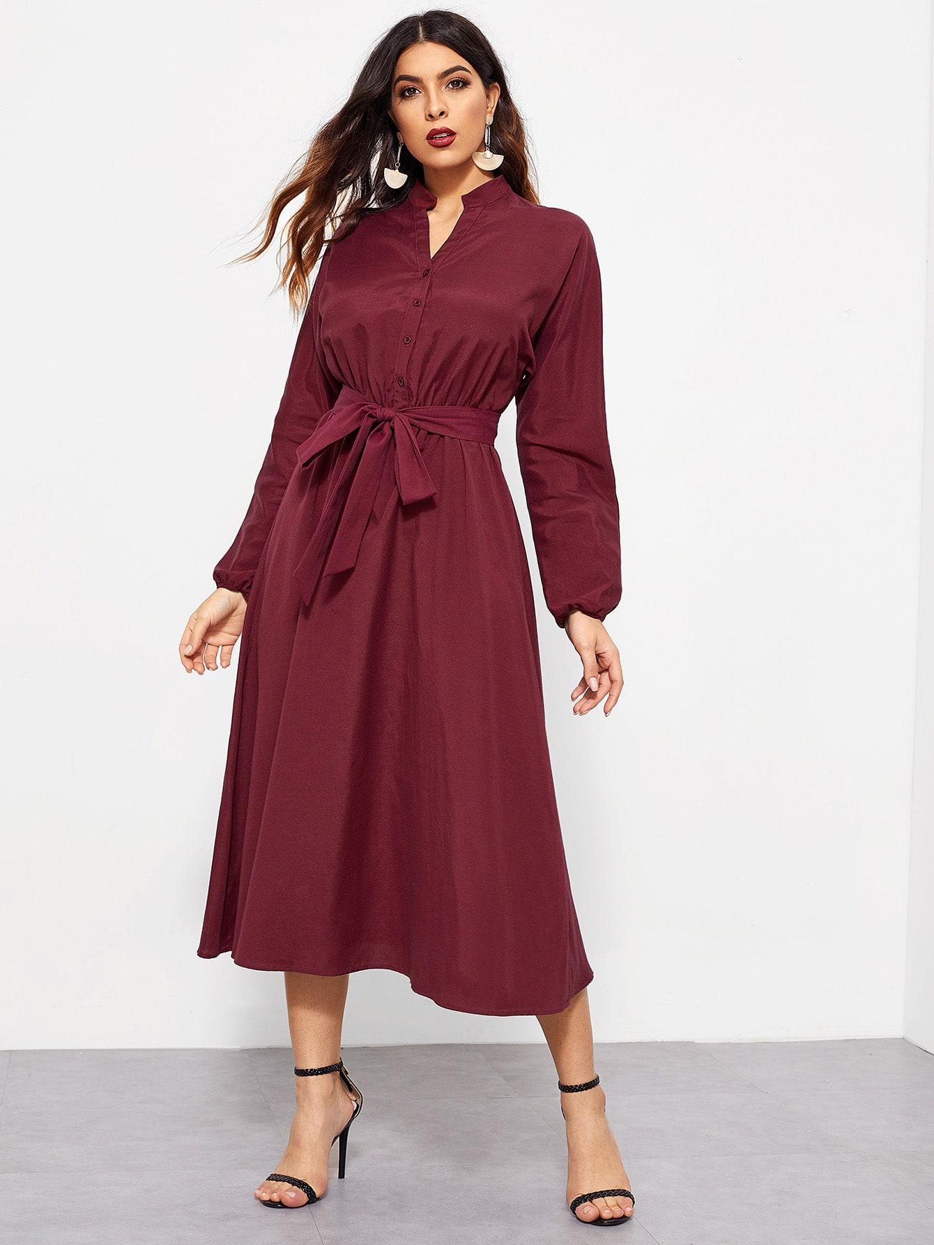 Купить Платье-рубашка с поясом и оригинальным рукавом, DANI A, SheIn