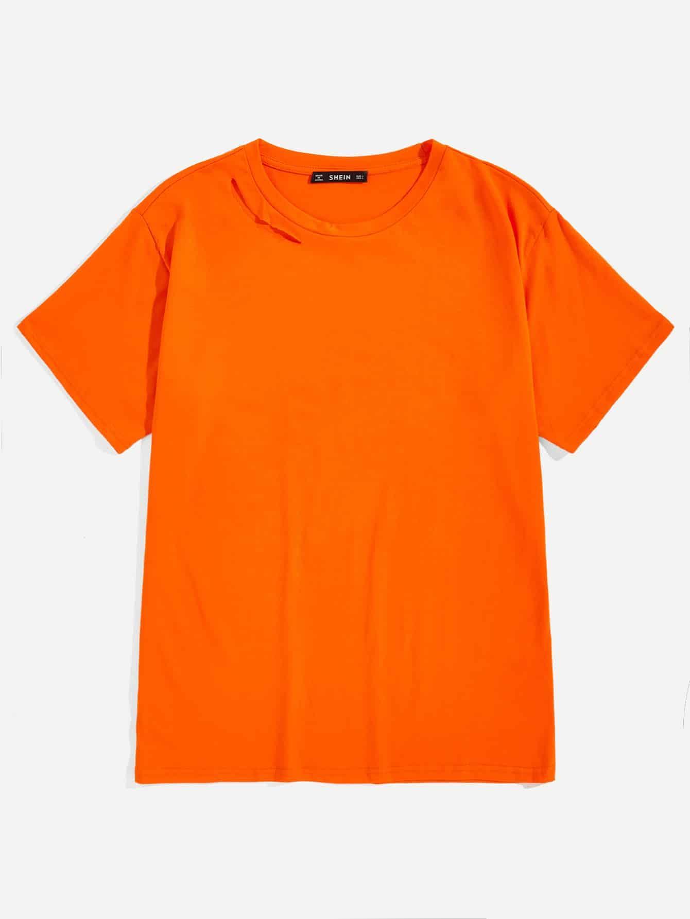 Купить Мужская однотонная футболка с ажурнфм воротником, null, SheIn