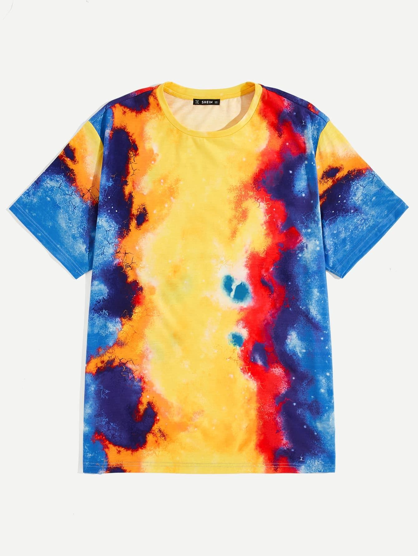 Купить Мужская разноцветная футболка с коротким рукавом, null, SheIn