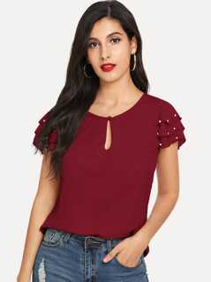 Keyhole Neck Pearls Beaded Layered Sleeve Top