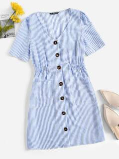 Shirred Waist Pocket Patched Buttoned Pinstripe Dress