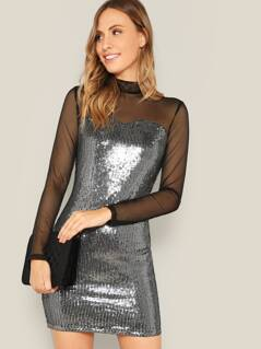 Mesh Yoke Metallic Sequin Bodycon Dress