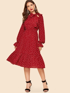 70s Tie Neck Allover Heart Print Ruffle Dress