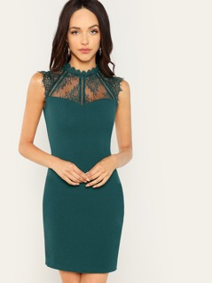 Lace Sweetheart Sleeveless Fitted Dress