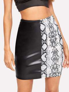 Snakeskin Print PU Bodycon Skirt