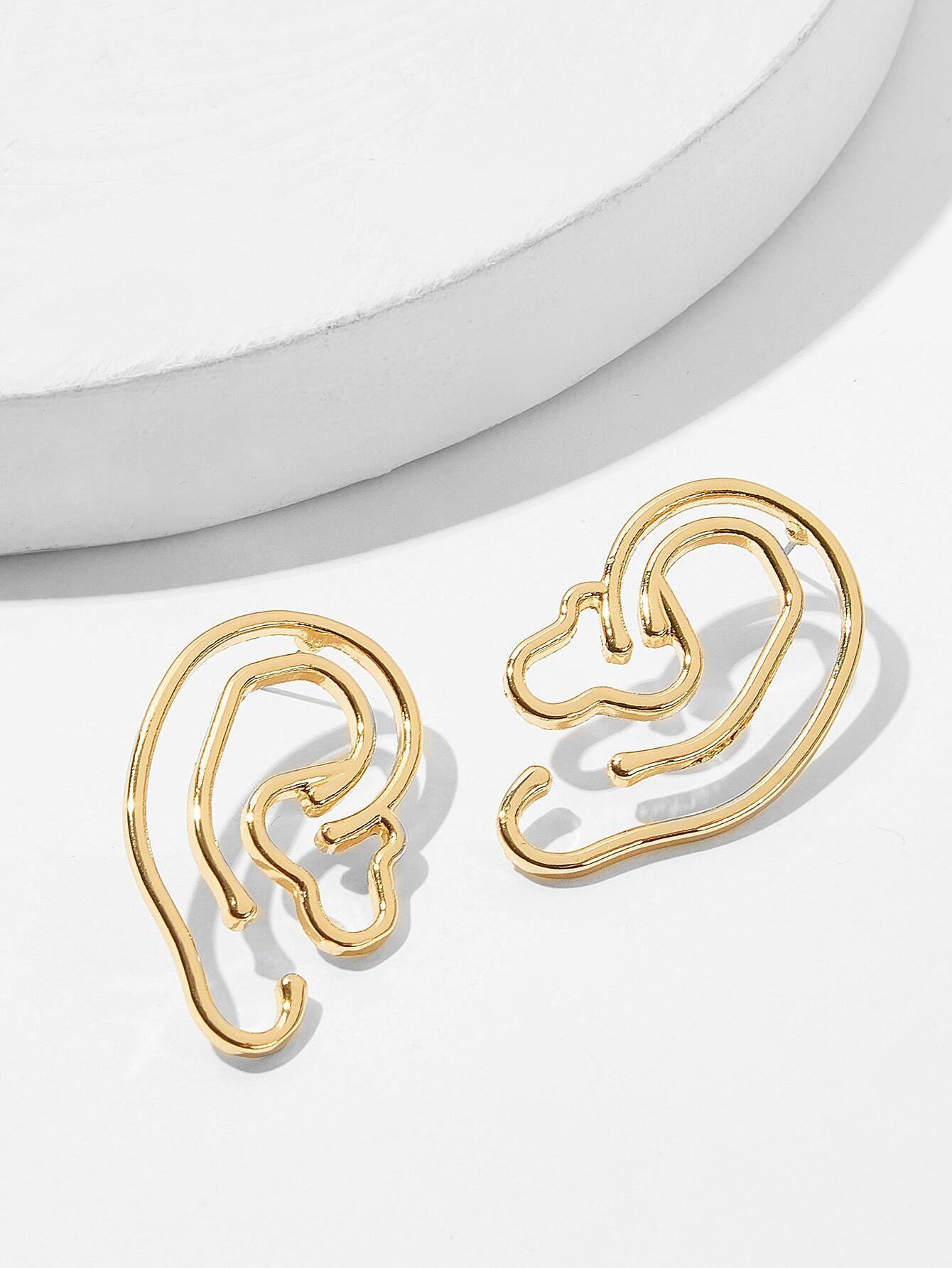 Купить Полые серьги-гвоздики в дизайне уха1 пара, null, SheIn