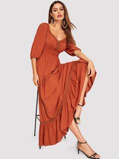 Lace Trim Smocked Waist Flounce Dress
