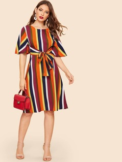 70s Waist Knot Colorful Stripe Dress