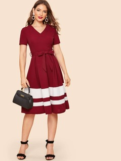 80s Cut-and-sew Belted Flared Dress