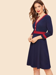 70s Colorblock Buttoned Front Flared Dress