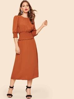 30s Shirred Waist & Cuff Solid Midi Dress