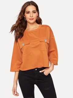 Pocket Patched Round Neck Sweatshirt