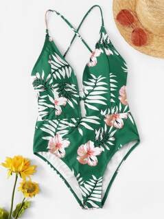 Lace-up Back Tropical Cami One Piece Swimsuit