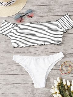 Striped Lettuce Trim Short Sleeve Bikini Set