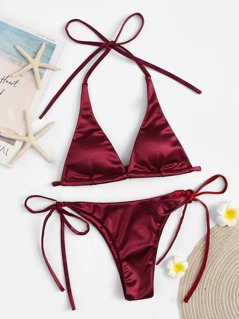 Halter Top With Tie Side Satin Bikini Set