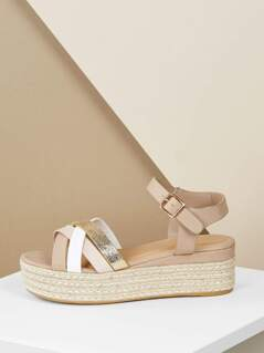 Ankle Band Strappy Jute Wrapped Flatform Sandals