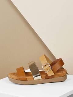Double Band Buckle Strap Flatform Sandals