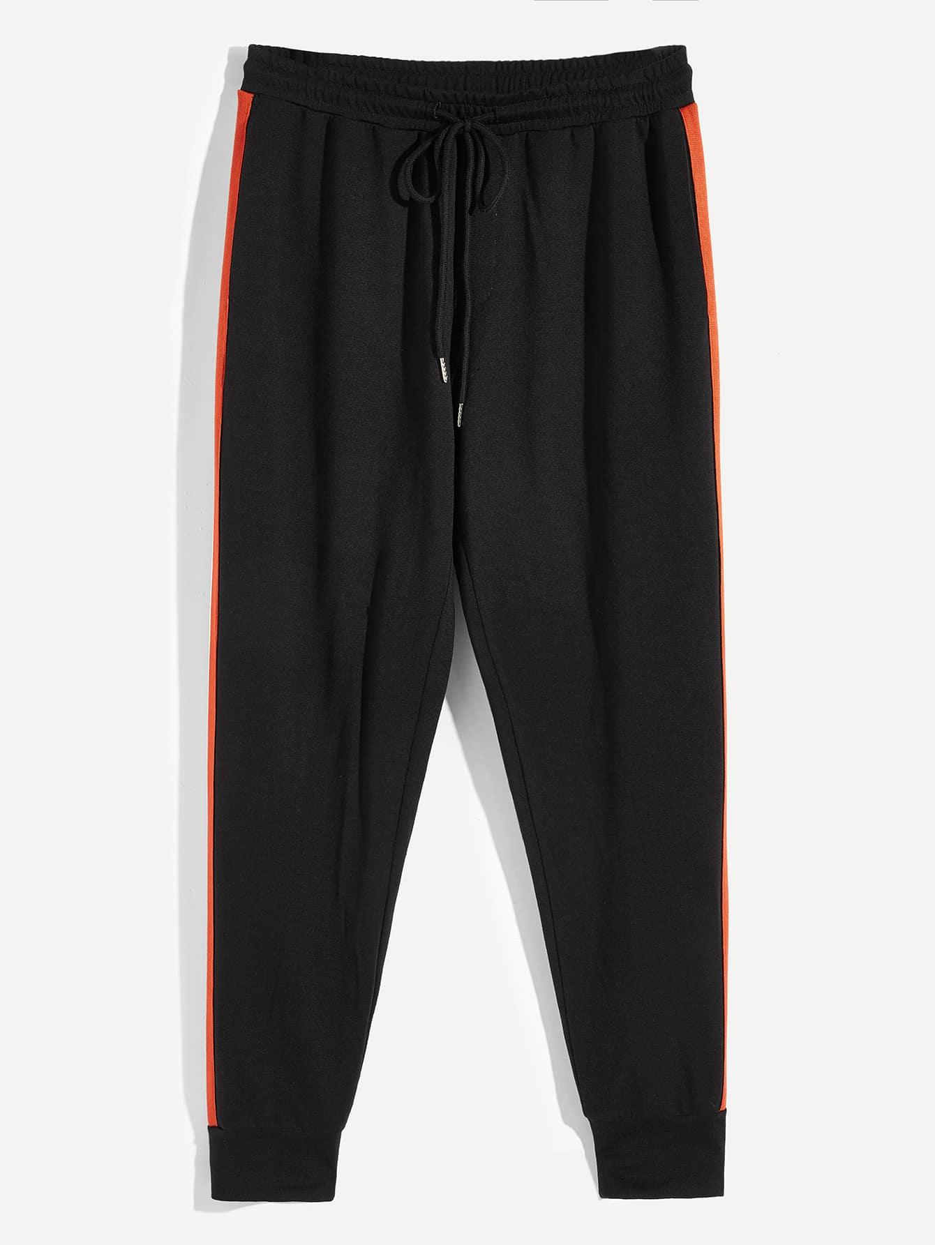Купить Мужские спортивные брюки с кулиской на талии и полосками, null, SheIn