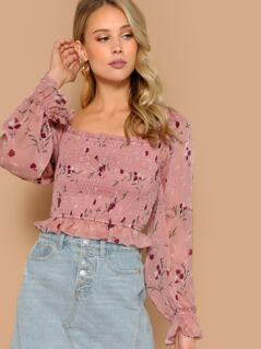 Square Neck Puff Sleeve Floral Smocked Blouse