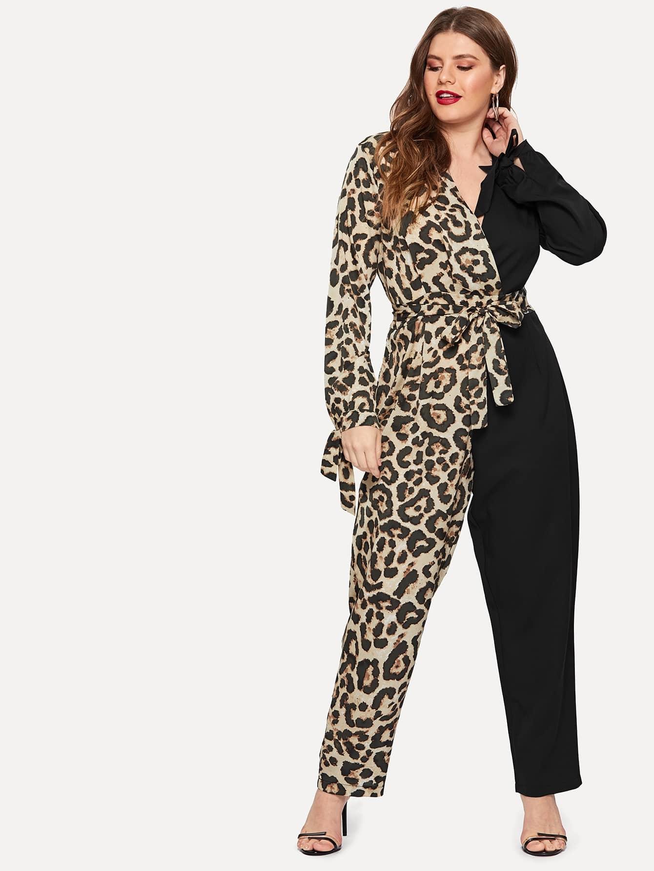 Купить Размера плюс контрастный комбинезон с леопардовым принтом, Isabela, SheIn