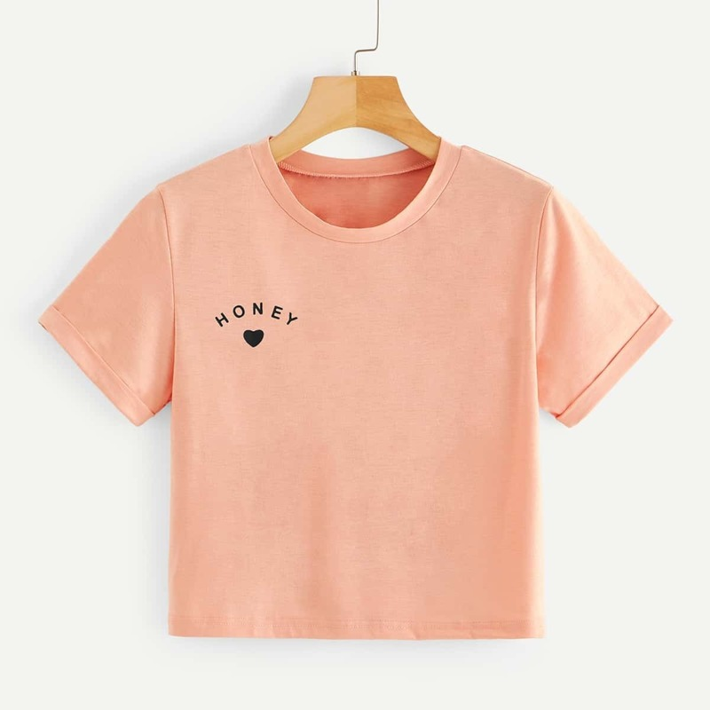 Letter And Heart Print Tee, Pink