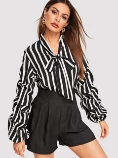 Tie Neck Gathered Sleeve Striped Top