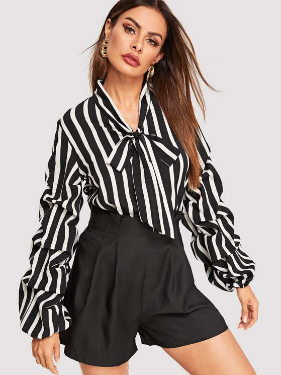 c55ed992a1f Tie Neck Gathered Sleeve Striped Top | MakeMeChic.COM