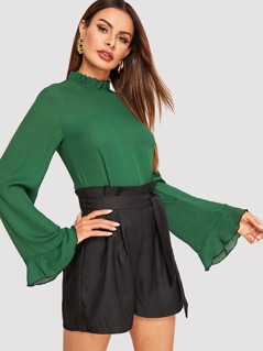 Frilled Neck Bell Sleeve Solid Top