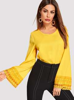 Embroidered Mesh Cuff Exaggerate Bell Sleeve Top