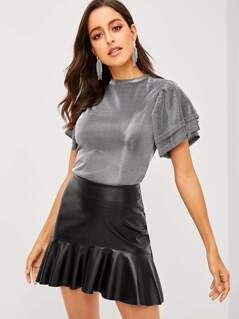 Layered Flutter Sleeve Metallic Top