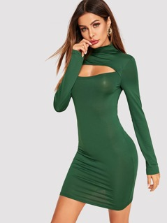 Cut Out Front Semi Sheer Bodycon Dress