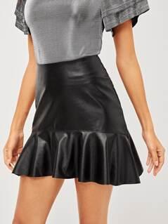 Flounce Hem PU Skirt