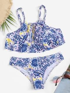 Random Geo Print Lace Up Flounce Bikini Set