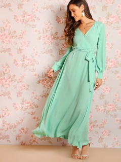 Surplice Wrap Belted Flowy Dress