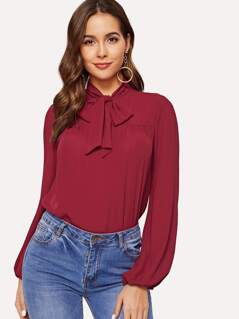 Tie Neck Solid Top
