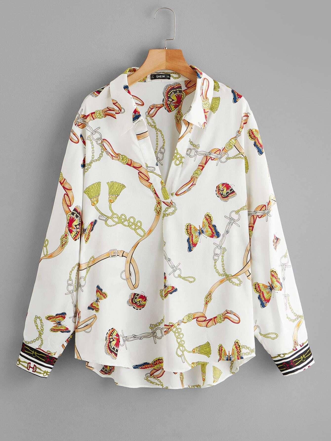 Купить Размер плюс блузка с выгнутым подолом и цепным принтом, null, SheIn