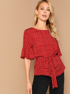 Confetti Heart Flounce Sleeve Belted Top