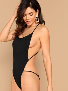 Criss Cross Backless Open Side Cheeky Bodysuit