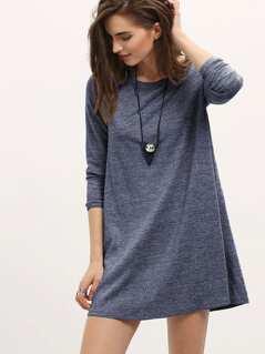 Marled Knit Mini T-shirt Dress