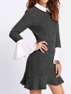 Contrast Collar And Ruffle Cuff Tweed Dress