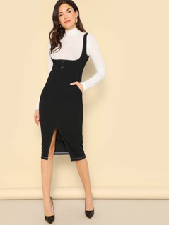 Slit Hem Button Front Bodycon Pinafore Dress