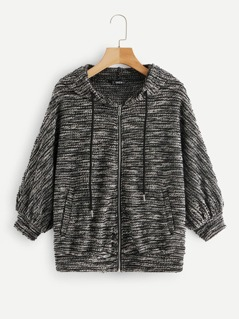 Zipper Up Boucle Knit Hoodie Jacket