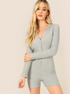 Button Up V Neck Rib-knit Romper