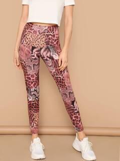 Wide Waist Animal Scarf Print Leggings