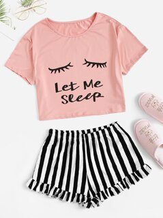Eye and Letter Top & Ruffle Striped Shorts PJ Set
