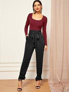 Knotted Hem Belted Solid Pegged Pants