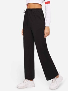 Drawstring Waist Solid Straight Leg Pants