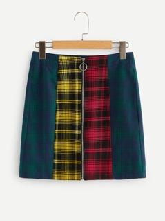 Exposed O-ring Zipper Plaid Skirt