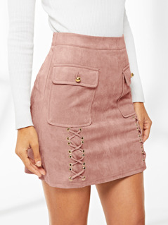 Lace Up Detail Flap Pocket Suede Skirt